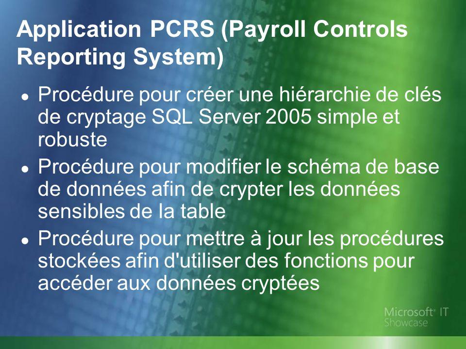 Procédure pour créer une hiérarchie de clés de cryptage SQL Server 2005 simple et robuste Procédure pour modifier le schéma de base de données afin de crypter les données sensibles de la table Procédure pour mettre à jour les procédures stockées afin d utiliser des fonctions pour accéder aux données cryptées