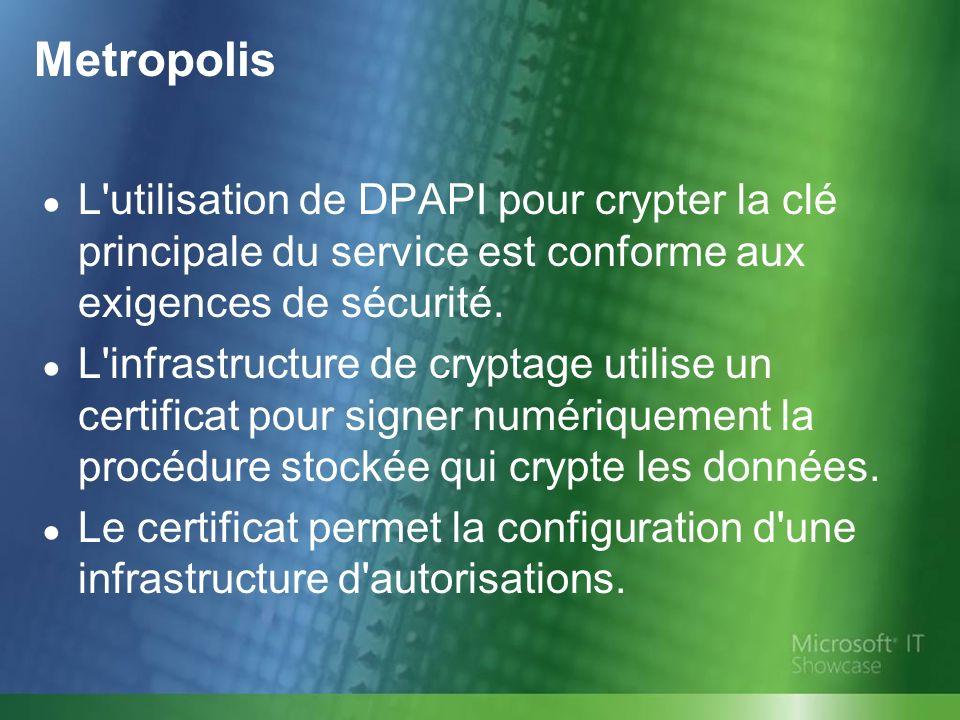 L utilisation de DPAPI pour crypter la clé principale du service est conforme aux exigences de sécurité.