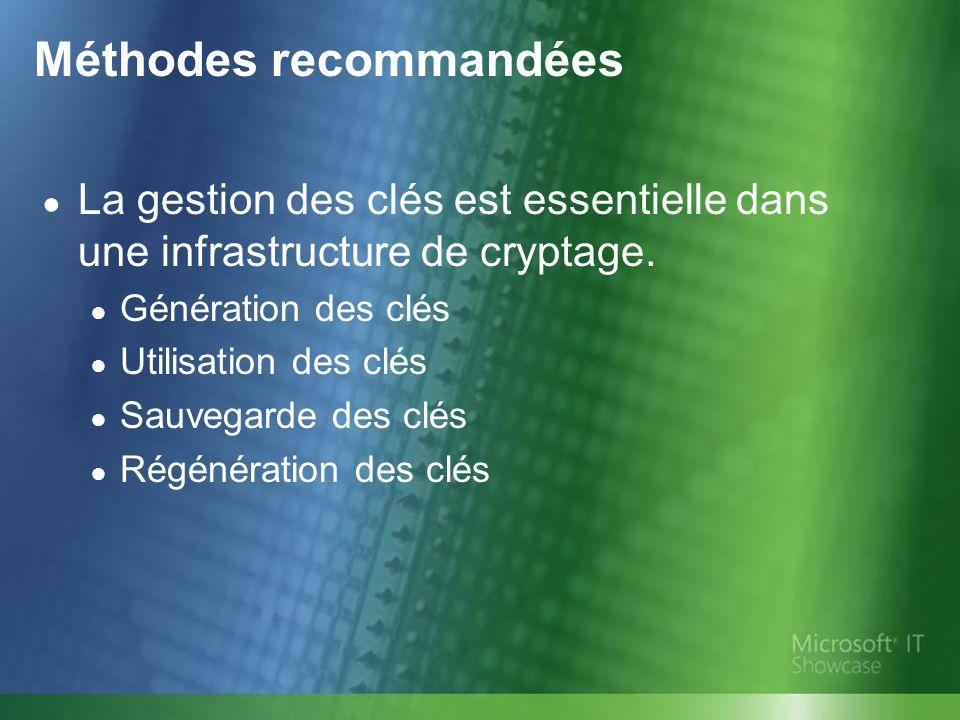Méthodes recommandées La gestion des clés est essentielle dans une infrastructure de cryptage.