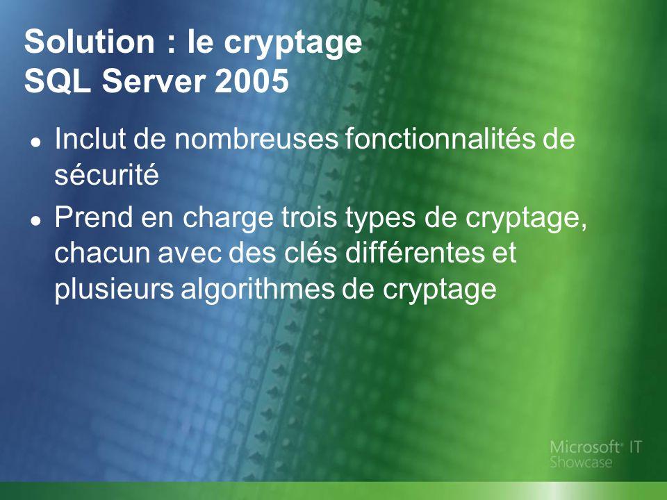 Solution : le cryptage SQL Server 2005 Inclut de nombreuses fonctionnalités de sécurité Prend en charge trois types de cryptage, chacun avec des clés différentes et plusieurs algorithmes de cryptage