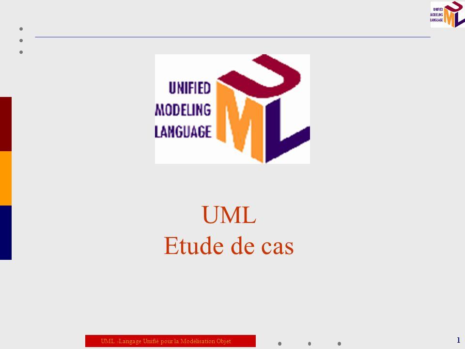 UML -Langage Unifié pour la Modélisation Objet 1 U ML Etude de cas