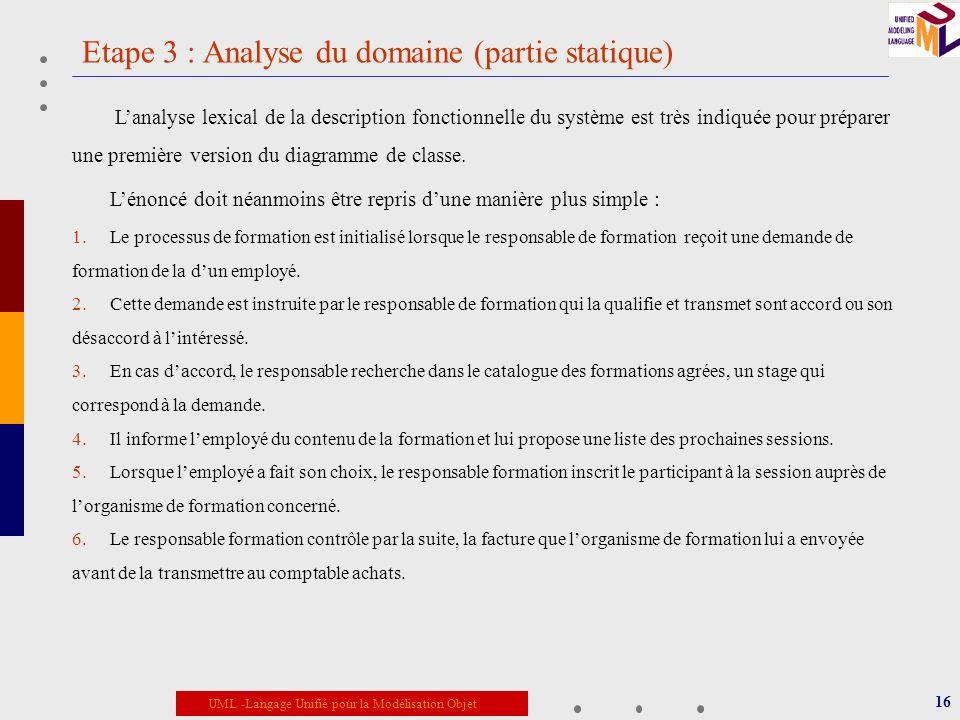 UML -Langage Unifié pour la Modélisation Objet Etape 3 : Analyse du domaine (partie statique) 16 Lanalyse lexical de la description fonctionnelle du s