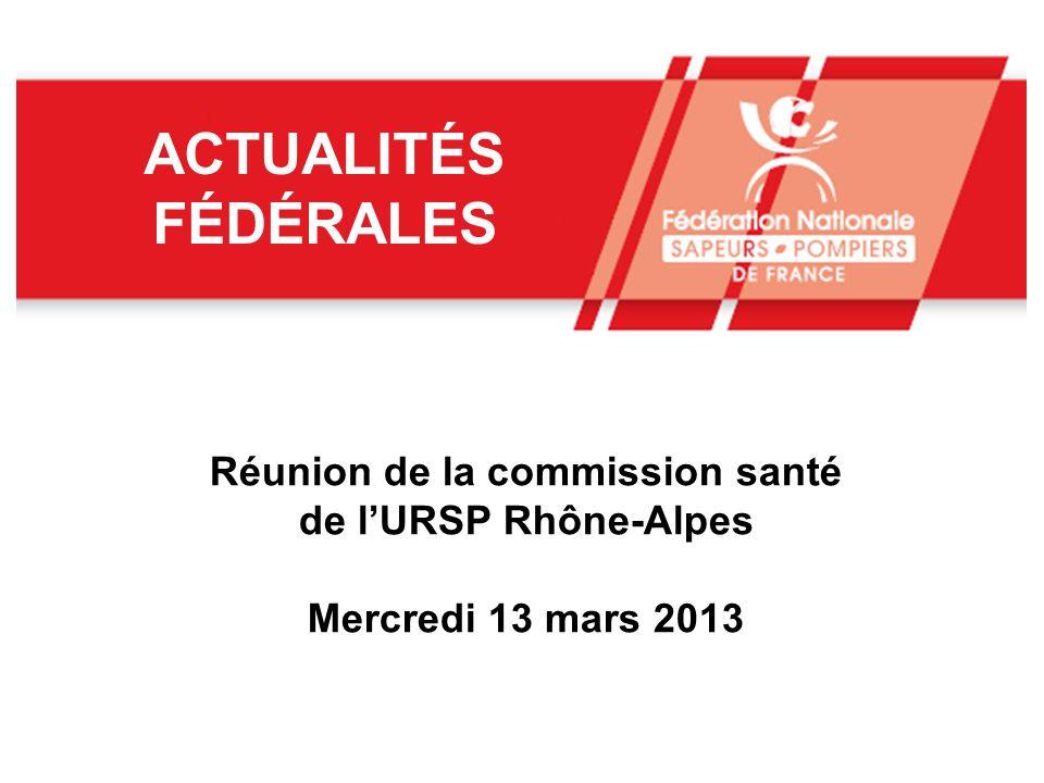 ACTUALITÉS FÉDÉRALES Réunion de la commission santé de lURSP Rhône-Alpes Mercredi 13 mars 2013