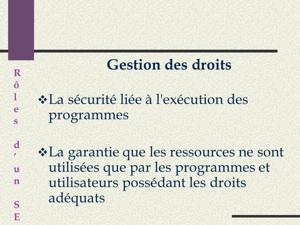 Gestion de l'exécution des applications La bonne exécution des applications en affectant les ressources nécessaires à leur bon fonctionnement R ô l e