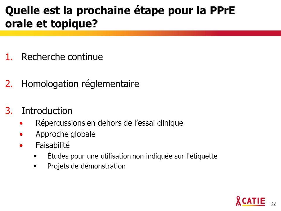 32 Quelle est la prochaine étape pour la PPrE orale et topique.