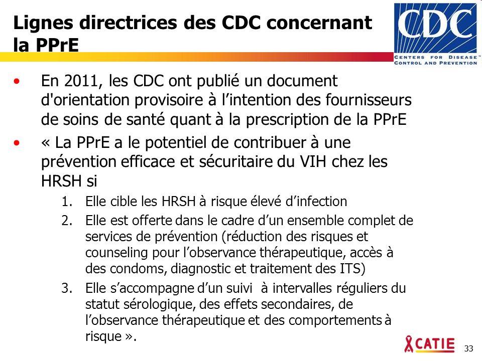 33 Lignes directrices des CDC concernant la PPrE En 2011, les CDC ont publié un document d orientation provisoire à lintention des fournisseurs de soins de santé quant à la prescription de la PPrE « La PPrE a le potentiel de contribuer à une prévention efficace et sécuritaire du VIH chez les HRSH si 1.Elle cible les HRSH à risque élevé dinfection 2.Elle est offerte dans le cadre dun ensemble complet de services de prévention (réduction des risques et counseling pour lobservance thérapeutique, accès à des condoms, diagnostic et traitement des ITS) 3.Elle saccompagne dun suivi à intervalles réguliers du statut sérologique, des effets secondaires, de lobservance thérapeutique et des comportements à risque ».