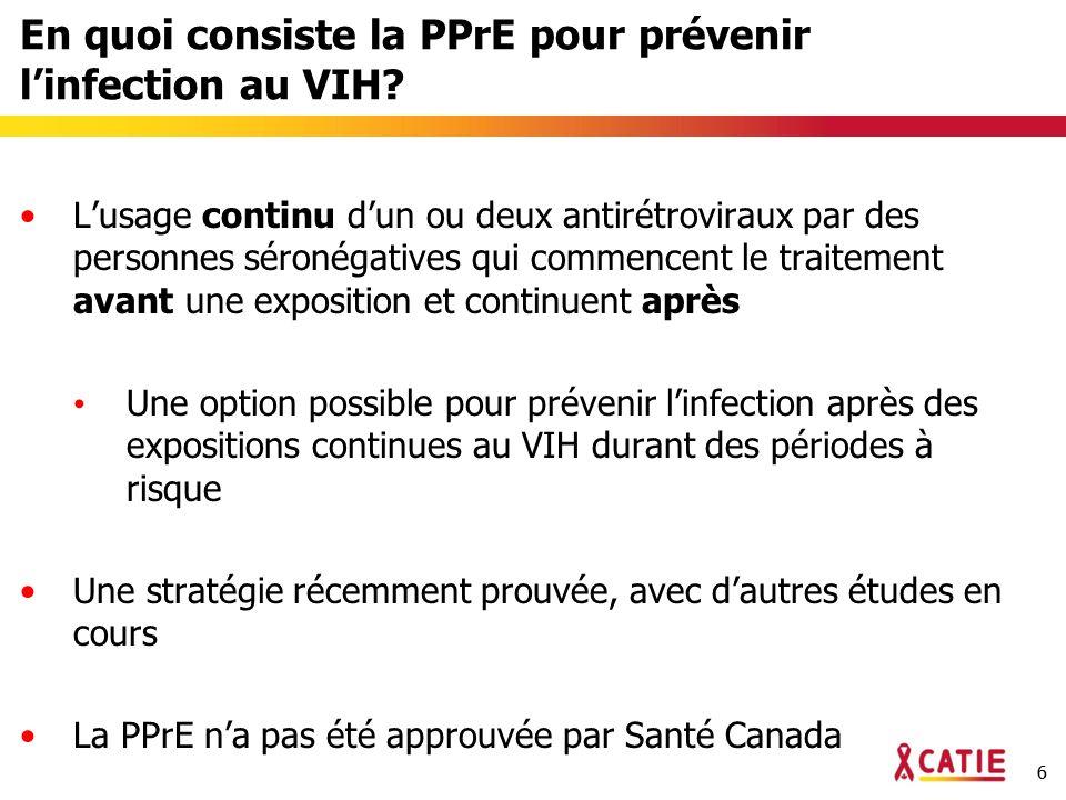 66 En quoi consiste la PPrE pour prévenir linfection au VIH.