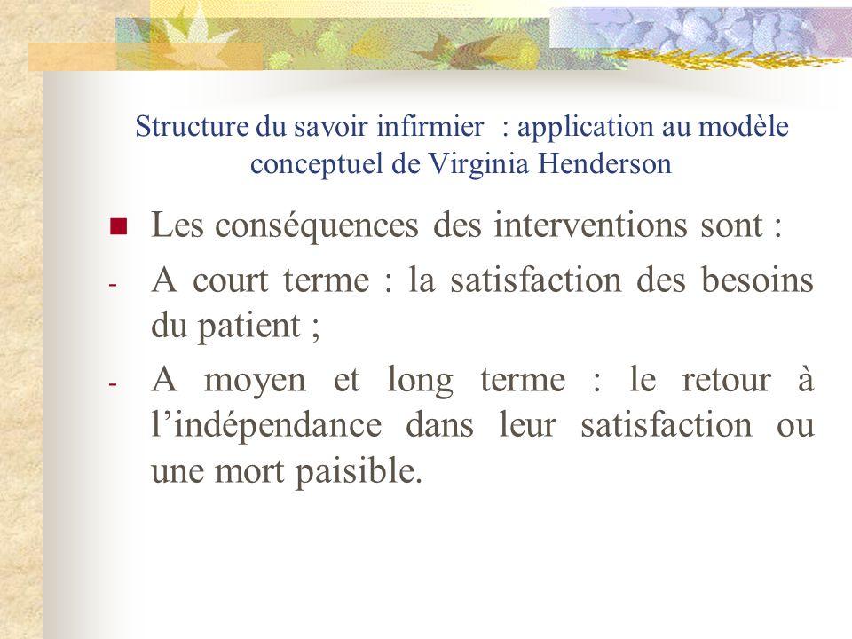 Structure du savoir infirmier : application au modèle conceptuel de Virginia Henderson Les conséquences des interventions sont : - A court terme : la