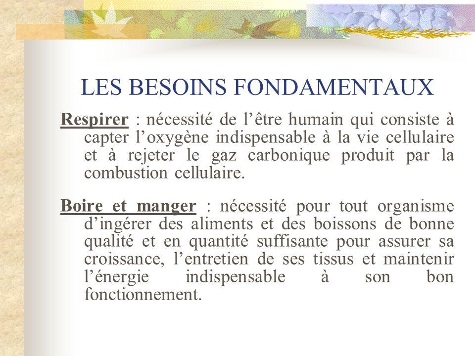 LES BESOINS FONDAMENTAUX Respirer : nécessité de lêtre humain qui consiste à capter loxygène indispensable à la vie cellulaire et à rejeter le gaz car