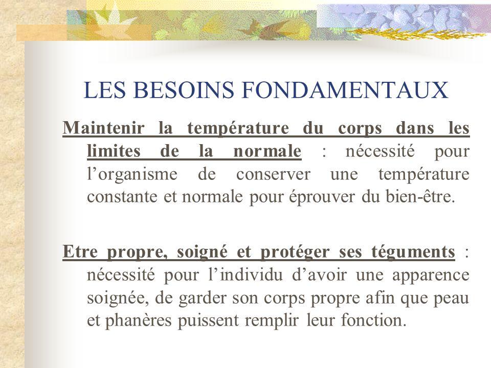 LES BESOINS FONDAMENTAUX Maintenir la température du corps dans les limites de la normale : nécessité pour lorganisme de conserver une température con