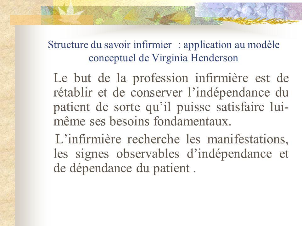 Structure du savoir infirmier : application au modèle conceptuel de Virginia Henderson Le but de la profession infirmière est de rétablir et de conser