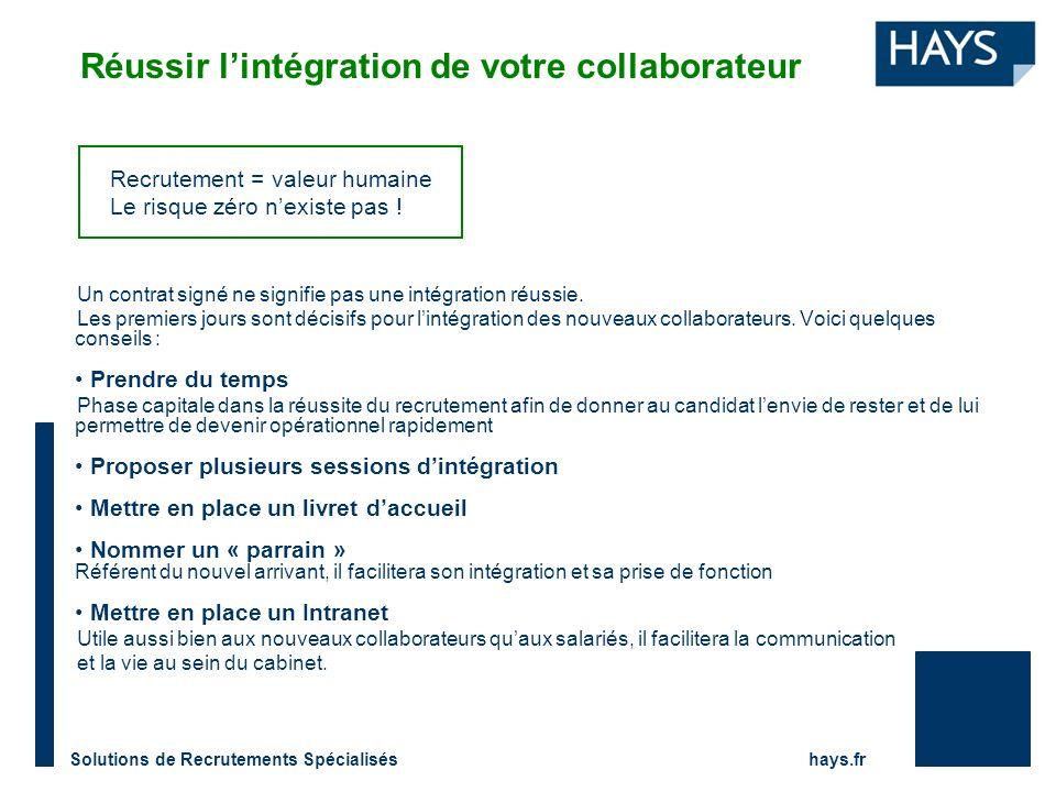 Solutions de Recrutements Spécialisés hays.fr Réussir lintégration de votre collaborateur Un contrat signé ne signifie pas une intégration réussie. Le