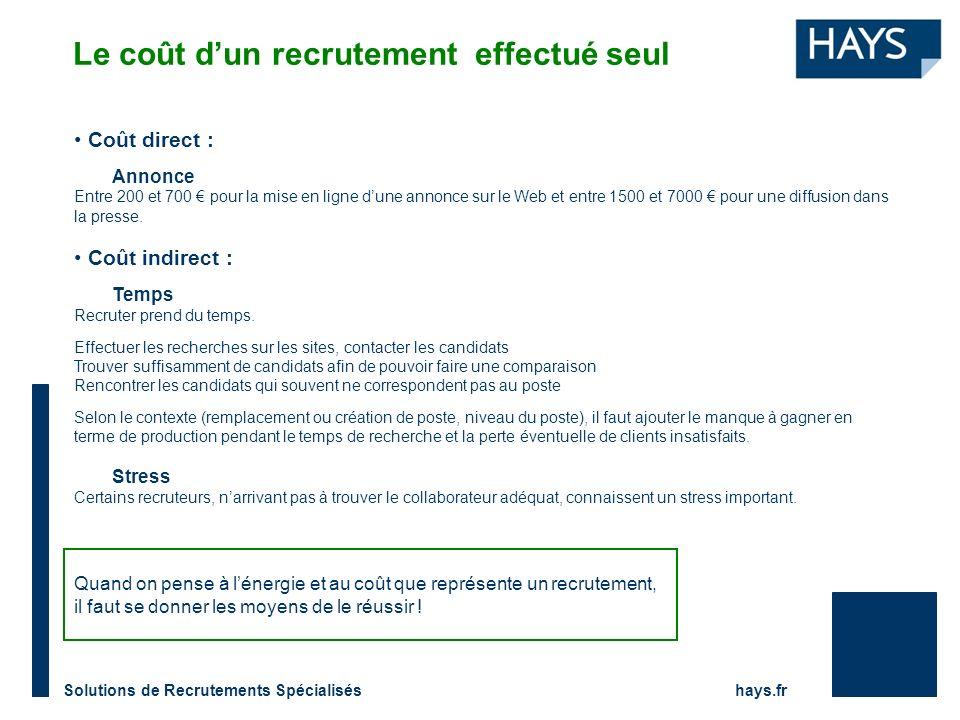Solutions de Recrutements Spécialisés hays.fr Coût direct : Annonce Entre 200 et 700 pour la mise en ligne dune annonce sur le Web et entre 1500 et 7000 pour une diffusion dans la presse.