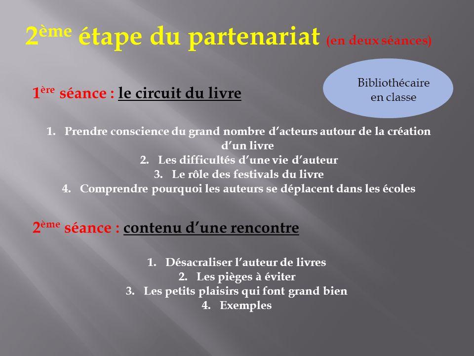 2 ème étape du partenariat (en deux séances) 1.Prendre conscience du grand nombre dacteurs autour de la création dun livre 2.Les difficultés dune vie