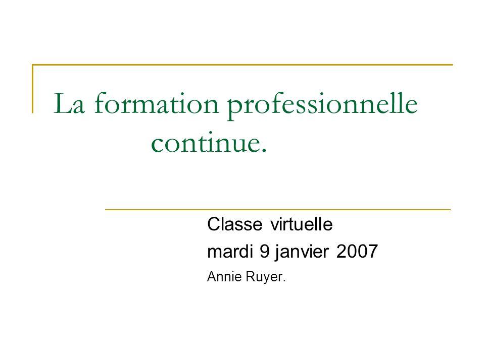 La formation professionnelle continue. Classe virtuelle mardi 9 janvier 2007 Annie Ruyer.