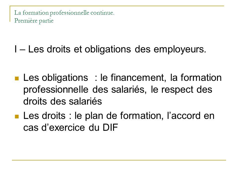 La formation professionnelle continue. Première partie I – Les droits et obligations des employeurs. Les obligations : le financement, la formation pr