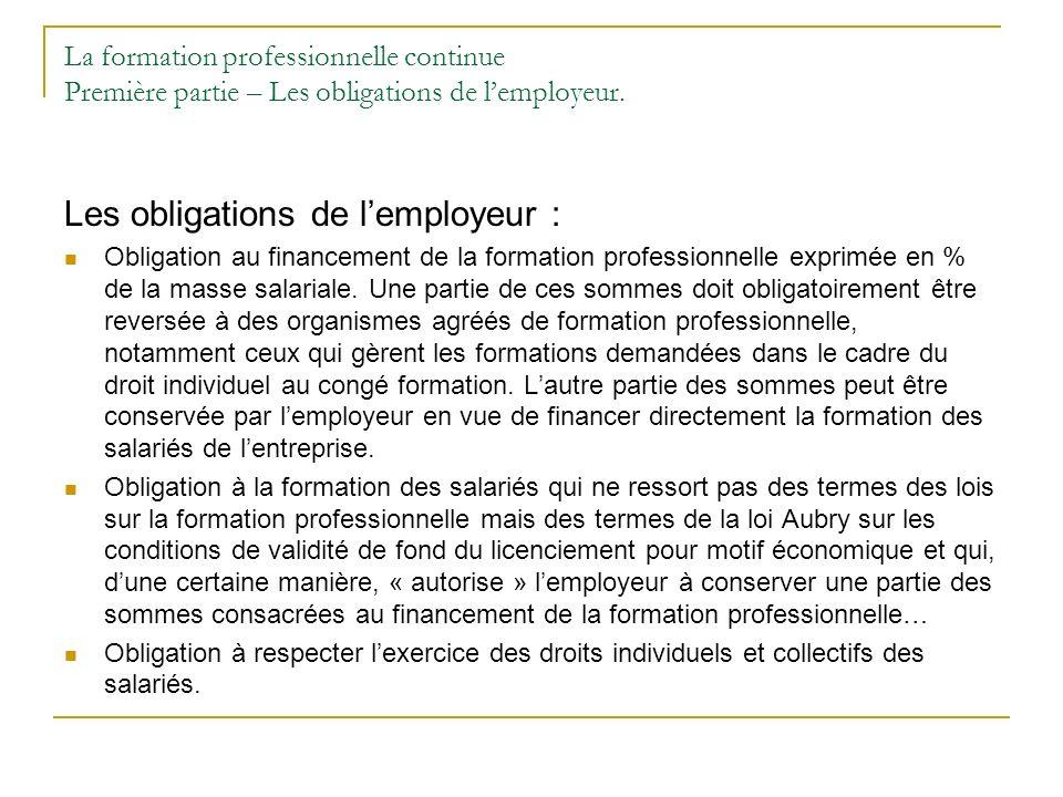 La formation professionnelle continue Première partie – Les obligations de lemployeur. Les obligations de lemployeur : Obligation au financement de la