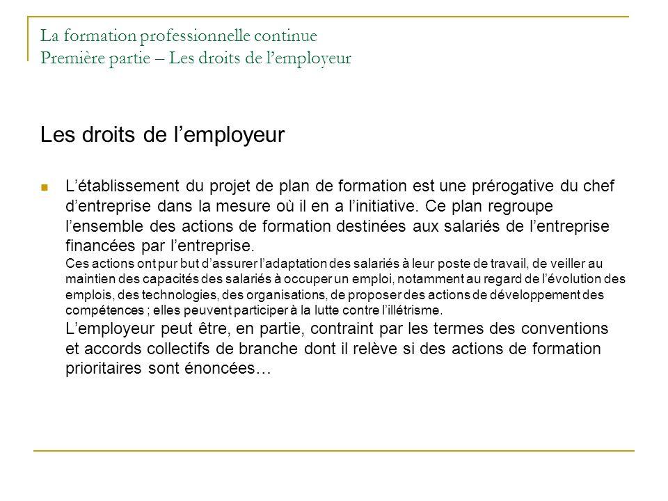 La formation professionnelle continue Première partie – Les droits de lemployeur Les droits de lemployeur Létablissement du projet de plan de formatio