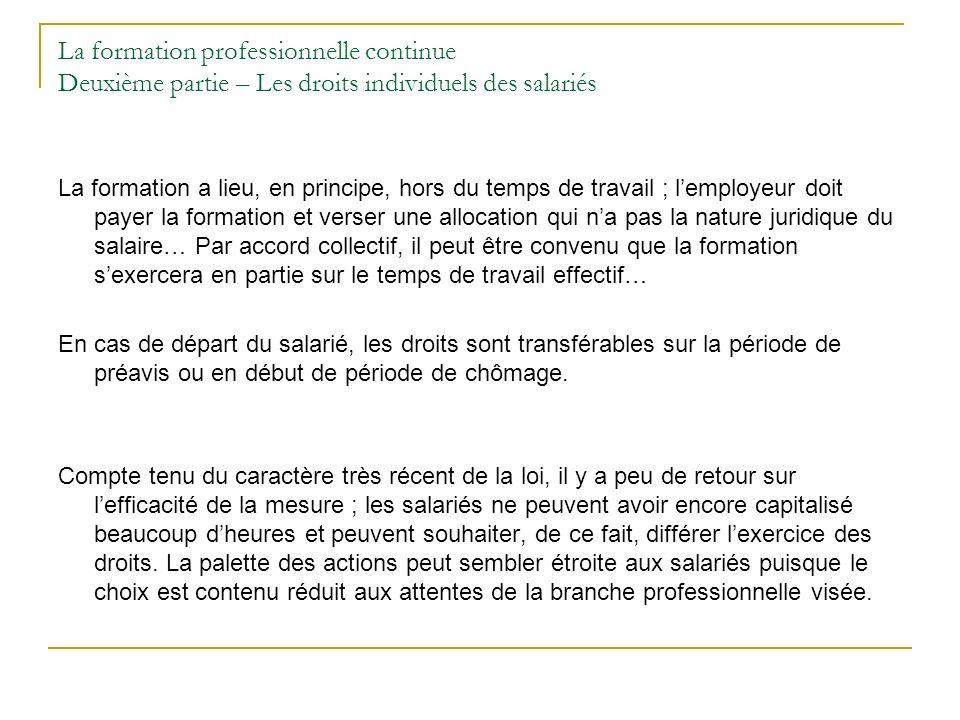 La formation professionnelle continue Deuxième partie – Les droits individuels des salariés La formation a lieu, en principe, hors du temps de travail