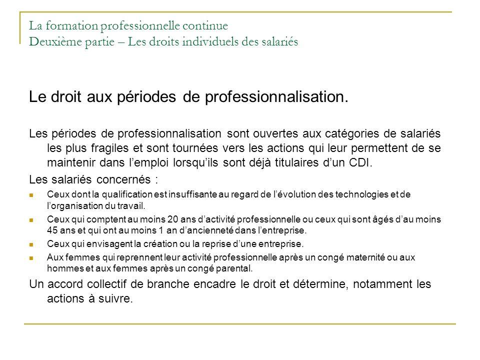 La formation professionnelle continue Deuxième partie – Les droits individuels des salariés Le droit aux périodes de professionnalisation. Les période