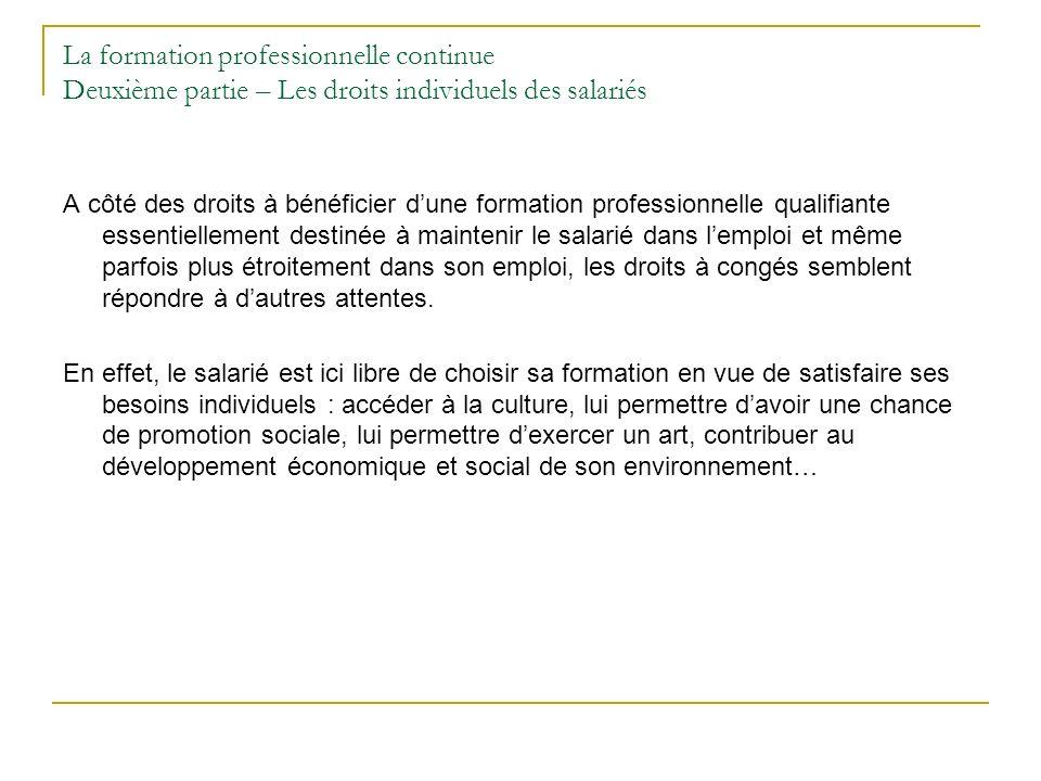 La formation professionnelle continue Deuxième partie – Les droits individuels des salariés A côté des droits à bénéficier dune formation professionne