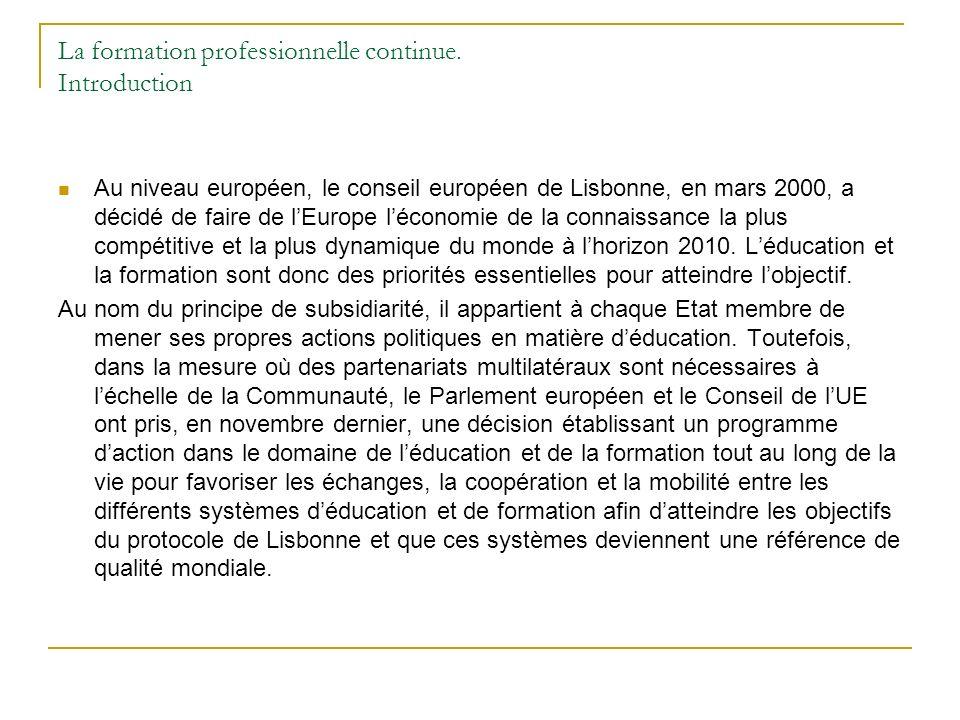 La formation professionnelle continue. Introduction Au niveau européen, le conseil européen de Lisbonne, en mars 2000, a décidé de faire de lEurope lé