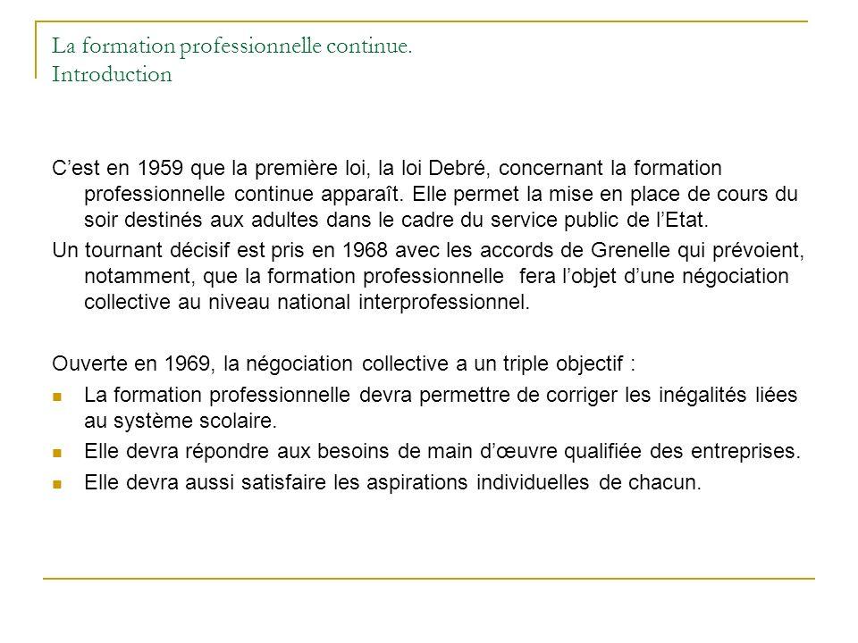 La formation professionnelle continue. Introduction Cest en 1959 que la première loi, la loi Debré, concernant la formation professionnelle continue a