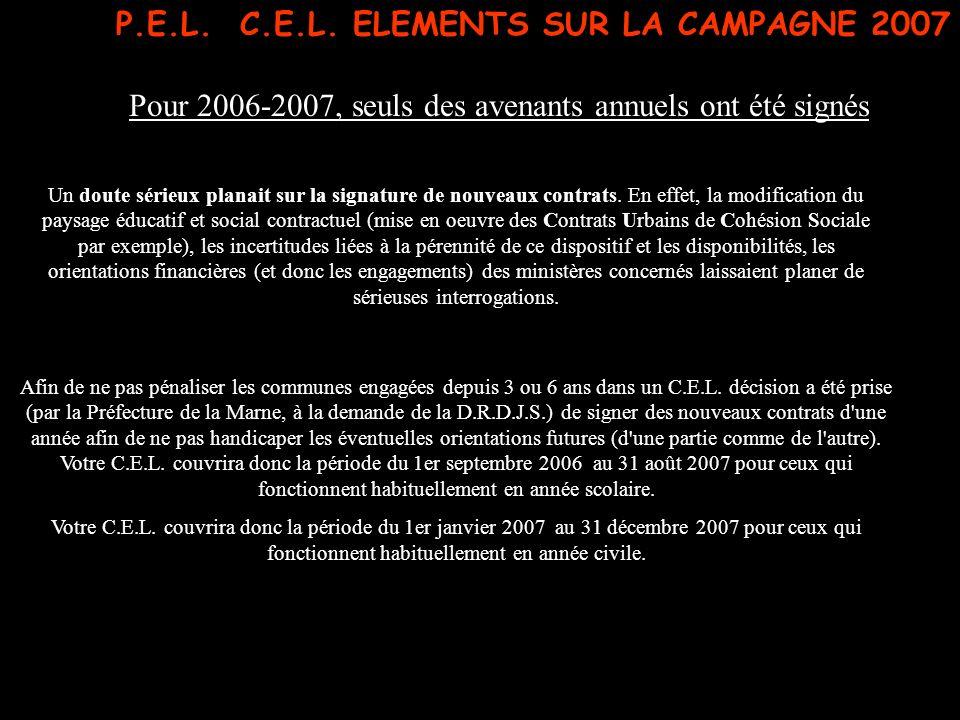 P.E.L. C.E.L. ELEMENTS SUR LA CAMPAGNE 2007 Pour 2006-2007, seuls des avenants annuels ont été signés Un doute sérieux planait sur la signature de nou