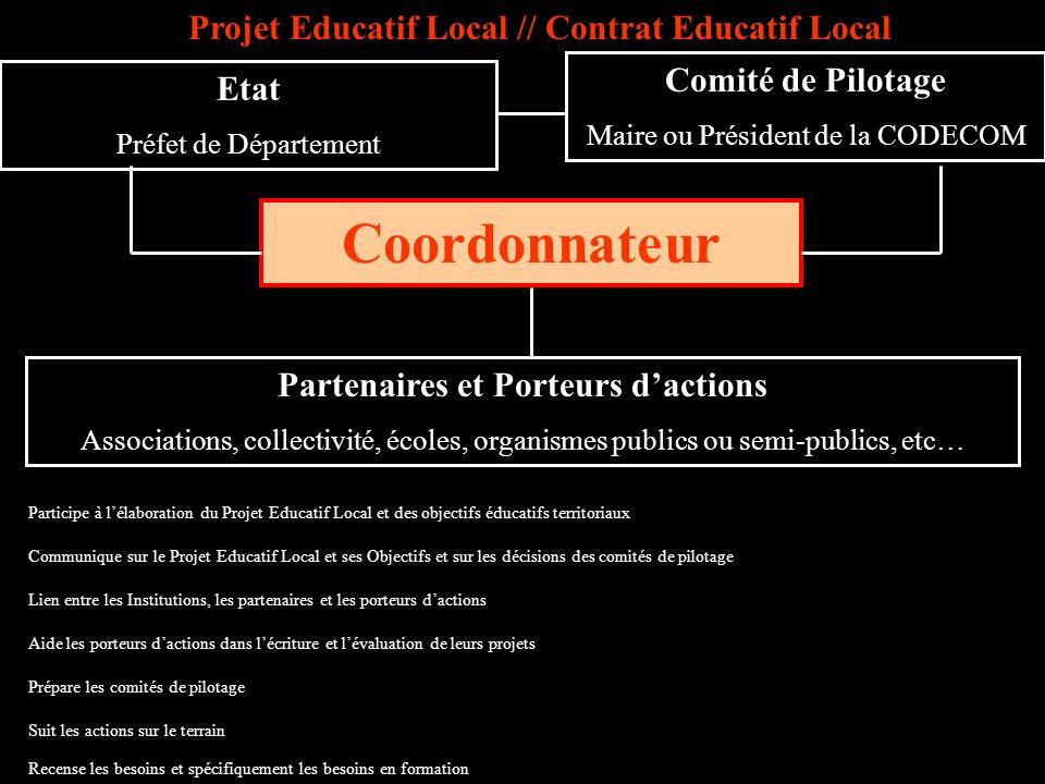 Coordonnateur Etat Préfet de Département Comité de Pilotage Maire ou Président de la CODECOM Prépare les comités de pilotage Aide les porteurs daction