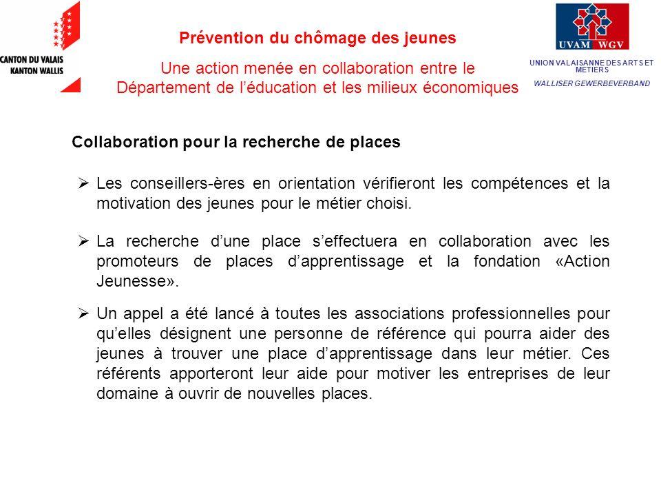 Prévention du chômage des jeunes Une action menée en collaboration entre le Département de léducation et les milieux économiques M.