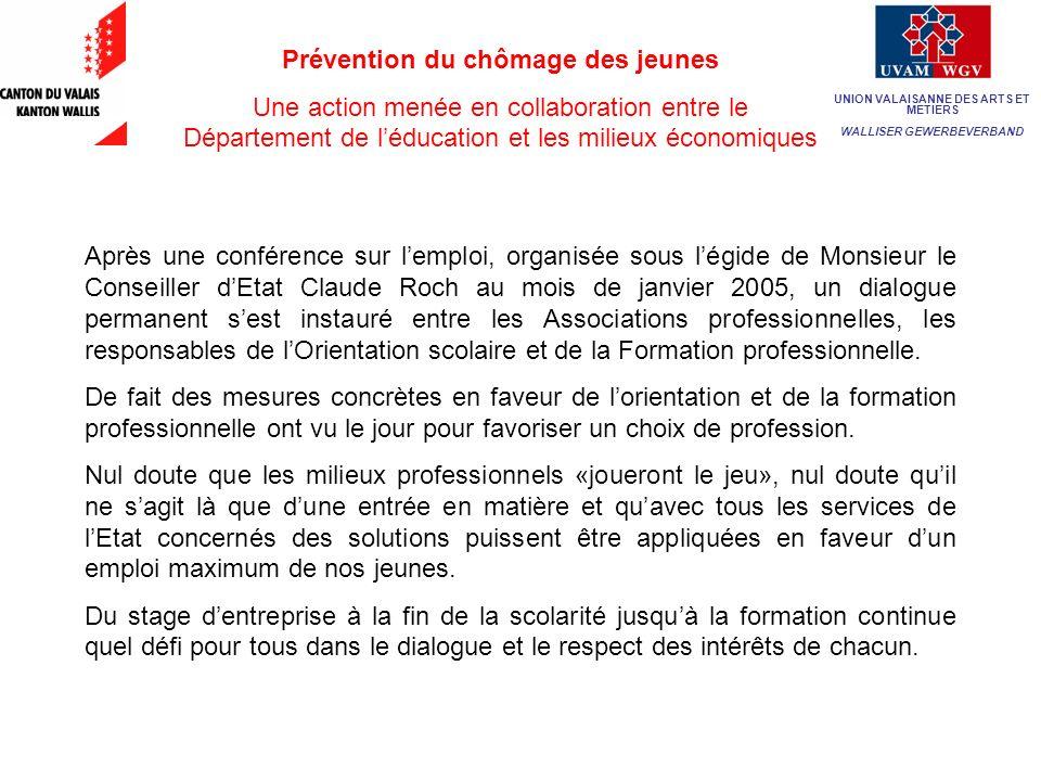 Prévention du chômage des jeunes Une action menée en collaboration entre le Département de léducation et les milieux économiques Après une conférence