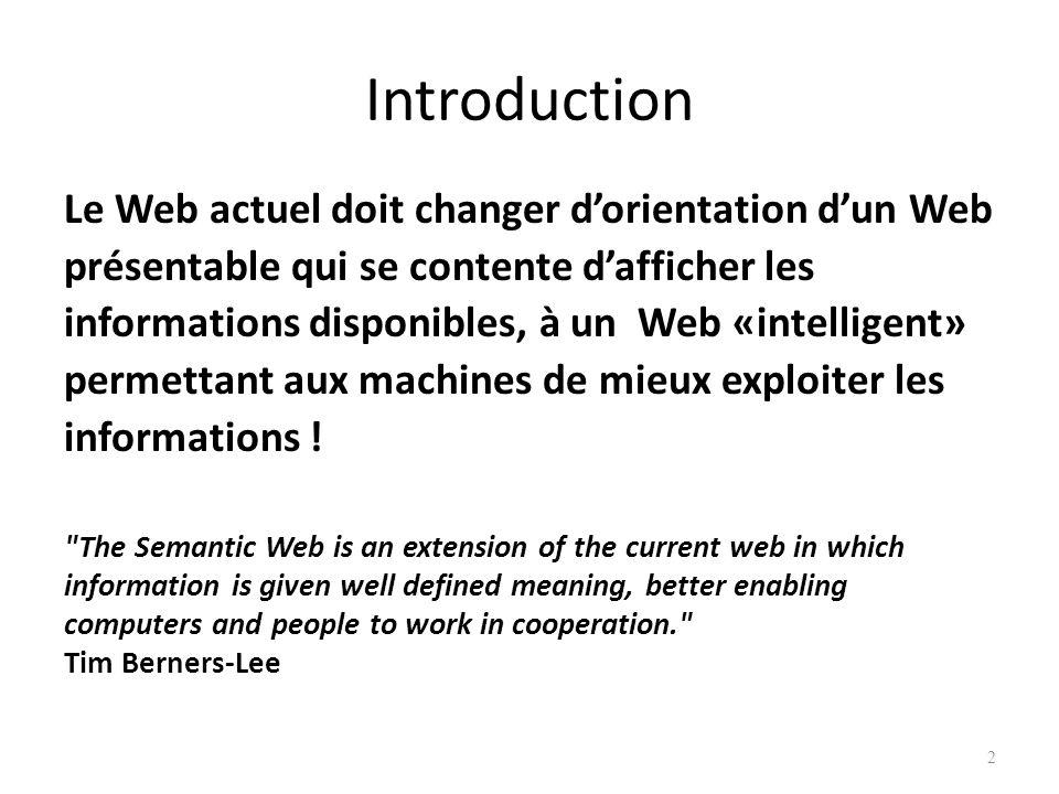 2 Le Web actuel doit changer dorientation dun Web présentable qui se contente dafficher les informations disponibles, à un Web «intelligent» permettant aux machines de mieux exploiter les informations .
