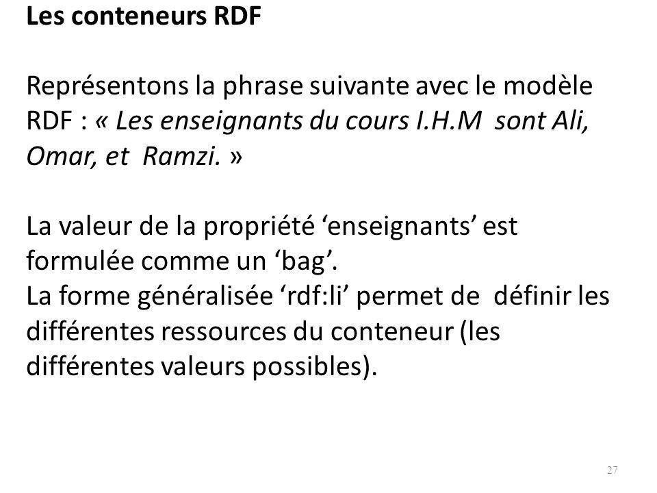 Les conteneurs RDF Représentons la phrase suivante avec le modèle RDF : « Les enseignants du cours I.H.M sont Ali, Omar, et Ramzi.