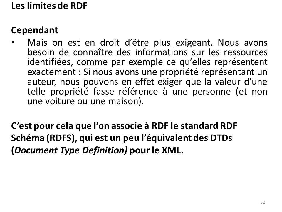 Les limites de RDF Cependant Mais on est en droit dêtre plus exigeant.