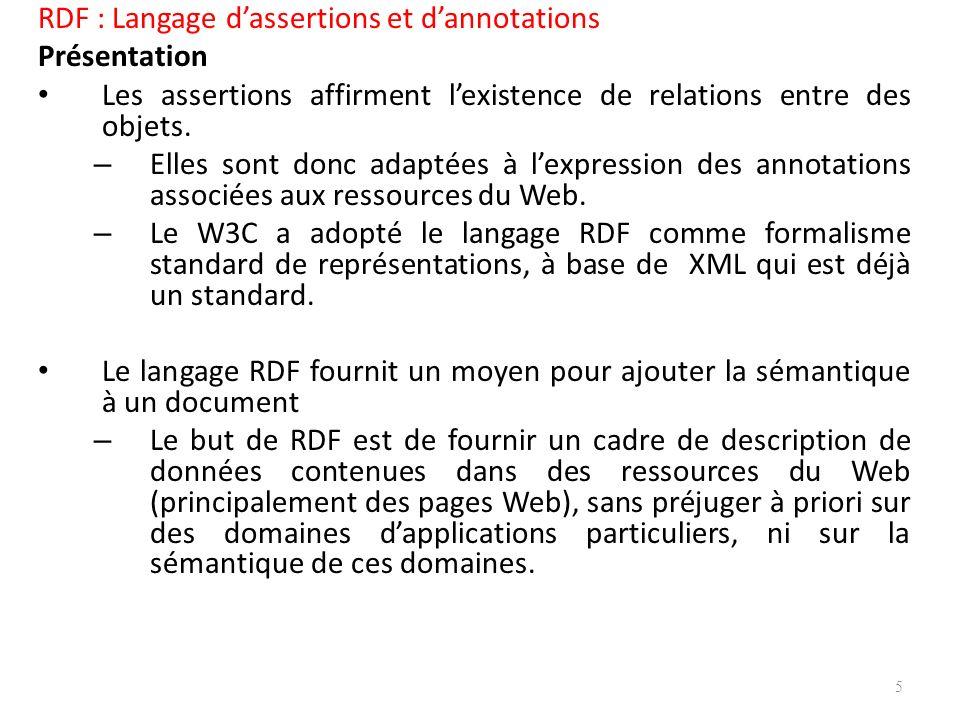RDF : Langage dassertions et dannotations Présentation Les assertions affirment lexistence de relations entre des objets.