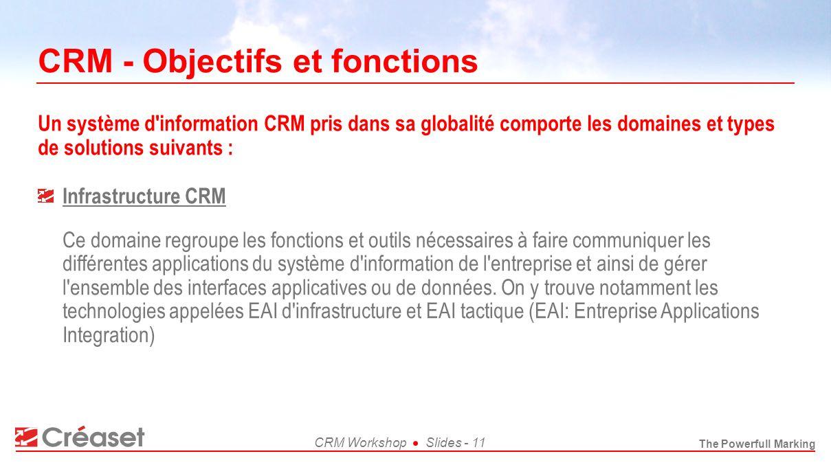 The Powerfull Marking CRM WorkshopSlides - 11 CRM - Objectifs et fonctions Infrastructure CRM Ce domaine regroupe les fonctions et outils nécessaires