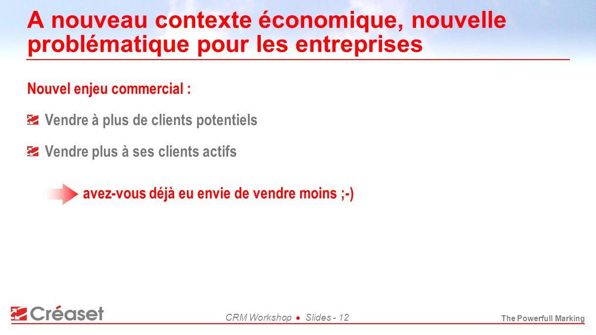 The Powerfull Marking CRM WorkshopSlides - 12 A nouveau contexte économique, nouvelle problématique pour les entreprises Nouvel enjeu commercial : Ven