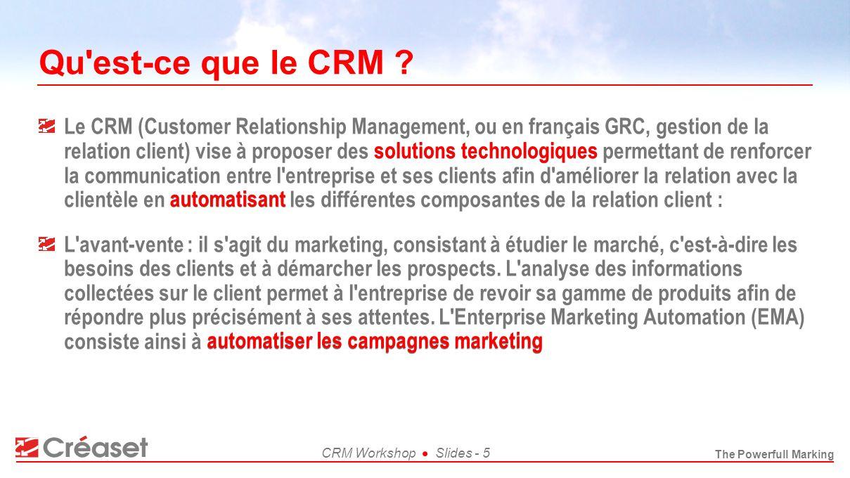The Powerfull Marking CRM WorkshopSlides - 6 Qu est-ce que le CRM .