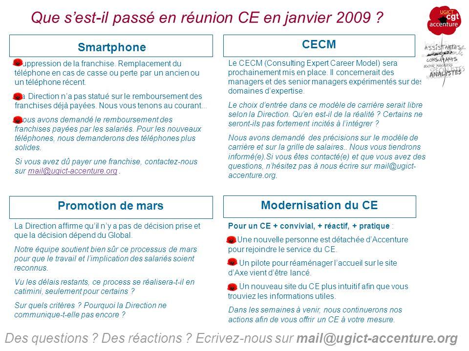 Que sest-il passé en réunion CE en janvier 2009 .