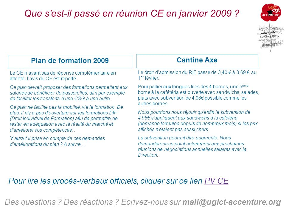 Que sest-il passé en réunion CE en janvier 2009 . Cantine Axe Des questions .