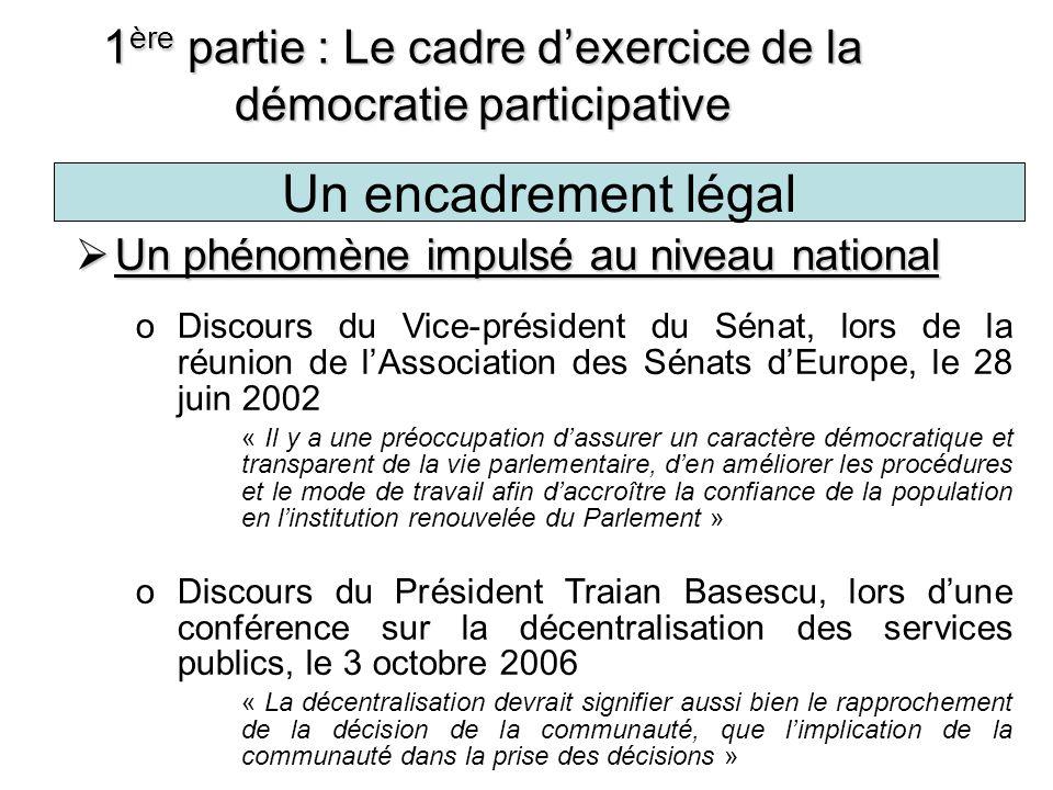 Les fondements juridiques de la démocratie participative 1 ère partie : Le cadre dexercice de la démocratie participative Loi no.