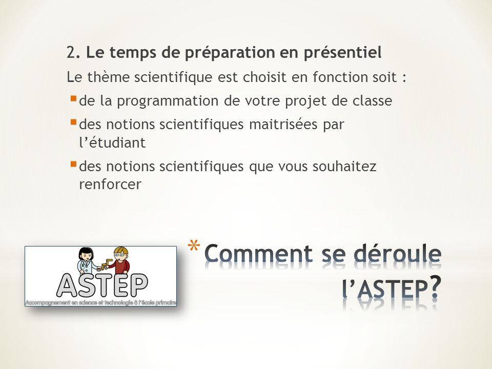 2. Le temps de préparation en présentiel Le thème scientifique est choisit en fonction soit : de la programmation de votre projet de classe des notion