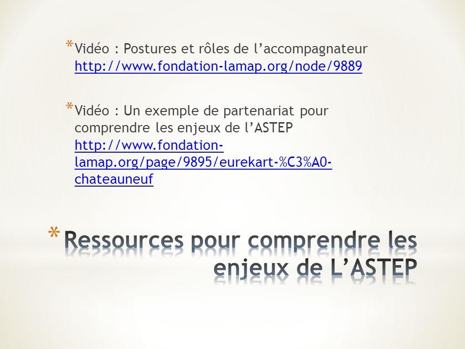 * Vidéo : Postures et rôles de laccompagnateur http://www.fondation-lamap.org/node/9889 http://www.fondation-lamap.org/node/9889 * Vidéo : Un exemple de partenariat pour comprendre les enjeux de lASTEP http://www.fondation- lamap.org/page/9895/eurekart-%C3%A0- chateauneuf http://www.fondation- lamap.org/page/9895/eurekart-%C3%A0- chateauneuf