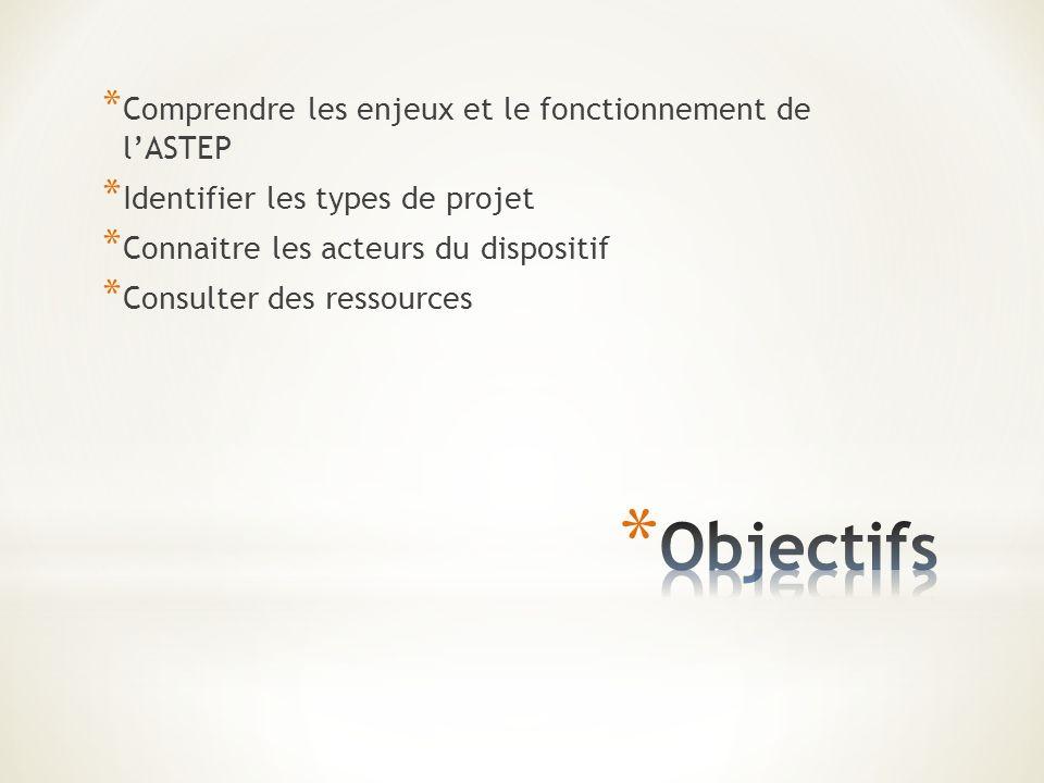 * Comprendre les enjeux et le fonctionnement de lASTEP * Identifier les types de projet * Connaitre les acteurs du dispositif * Consulter des ressources