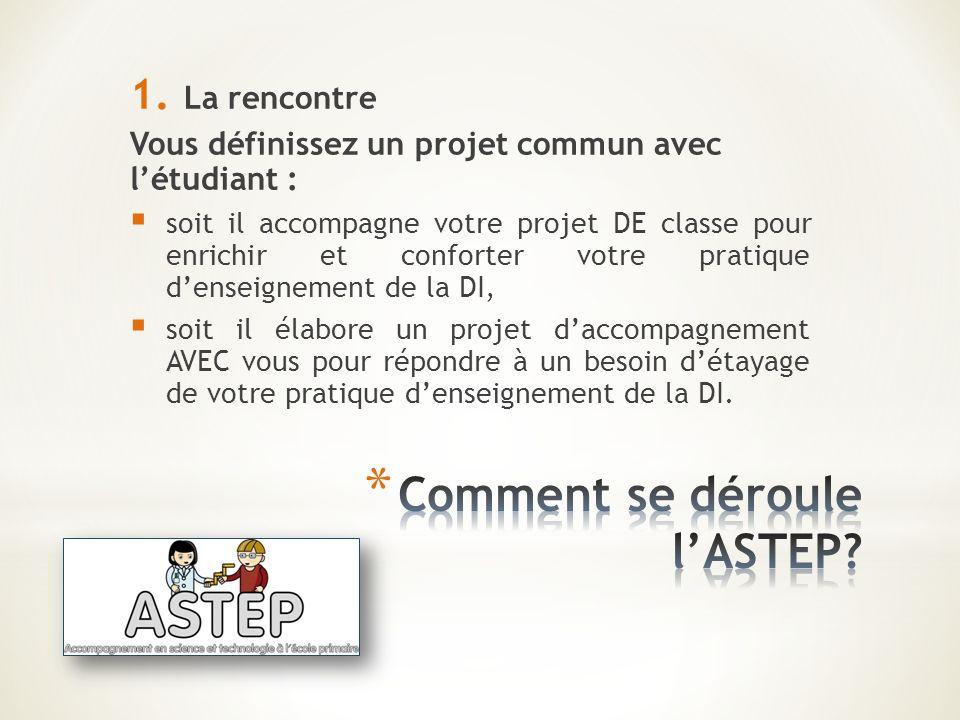 1. La rencontre Vous définissez un projet commun avec létudiant : soit il accompagne votre projet DE classe pour enrichir et conforter votre pratique