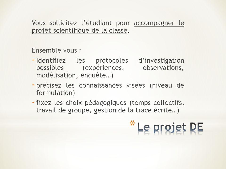 Vous sollicitez létudiant pour accompagner le projet scientifique de la classe. Ensemble vous : - Identifiez les protocoles dinvestigation possibles (