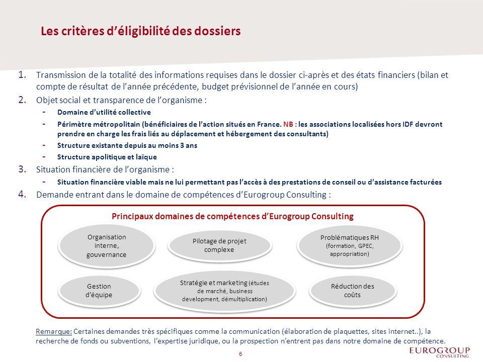 1. Transmission de la totalité des informations requises dans le dossier ci-après et des états financiers (bilan et compte de résultat de lannée précé