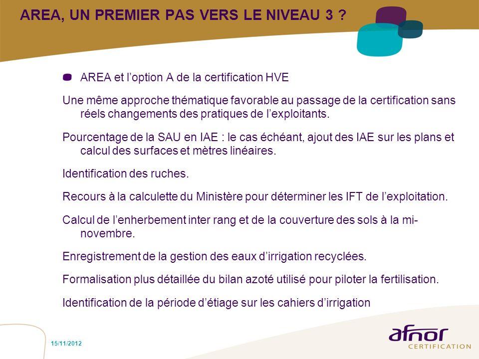 AREA, UN PREMIER PAS VERS LE NIVEAU 3 ? AREA et loption A de la certification HVE Une même approche thématique favorable au passage de la certificatio
