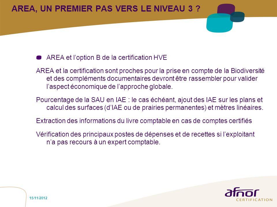 AREA, UN PREMIER PAS VERS LE NIVEAU 3 ? AREA et loption B de la certification HVE AREA et la certification sont proches pour la prise en compte de la