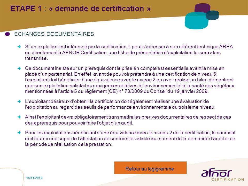 15/11/2012 ETAPE 1 : « demande de certification » ECHANGES DOCUMENTAIRES Si un exploitant est intéressé par la certification, il peut sadresser à son
